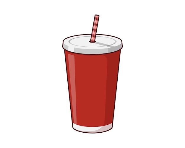 Rote einweg-getränkebecherverpackungsschablone aus papier oder plastik mit trinkhalm für soda oder