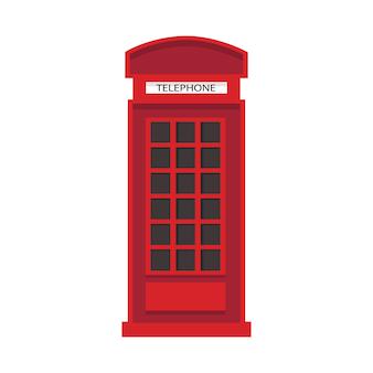 Rote englische telefonzelle im flachen stil. telefonsymbol isoliert.