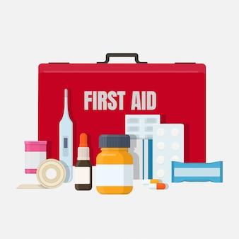Rote erste-hilfe-kit-box mit medizinischen werkzeugen, medikamenten, gips. illustration