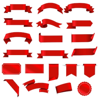 Rote etiketten und farbband stellen weißen hintergrund ein