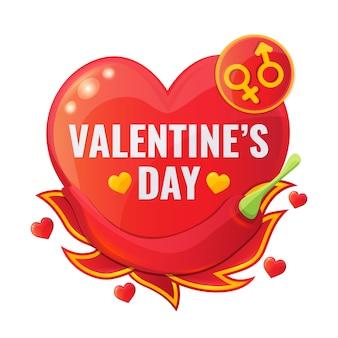 Rote fahne des glücklichen valentinstagverkaufs in form des herzens mit paprikapfeffer, der flammenzunge und den symbolen des unterschiedlichen geschlechts.