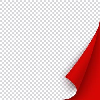Rote fahnenschablone mit gekräuselter ecke. quadratische gebogene papierseite für weihnachtsverkauf, promo oder flyer, leerer roter aufkleber für memo, notizen und post.