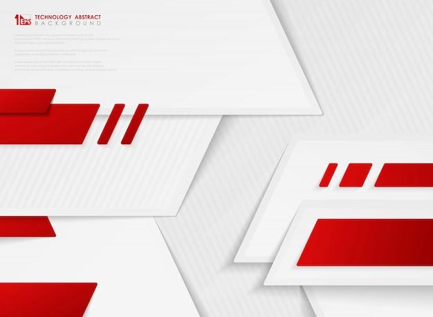 Rote farbe der abstrakten vektorsteigung des technologieweißhintergrundes