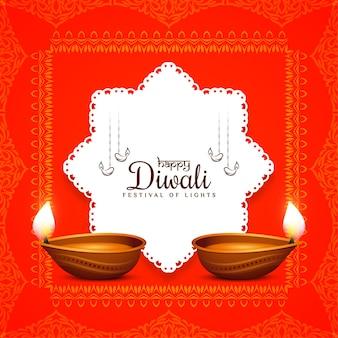 Rote farbe happy diwali festivalrahmen