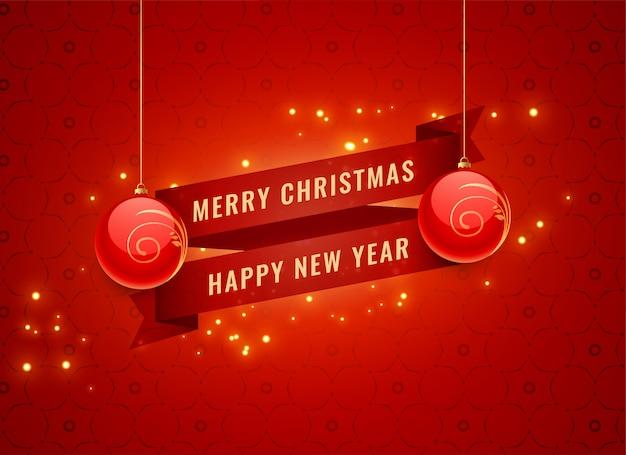 Rote feierfahne der frohen weihnachten und des neuen jahres