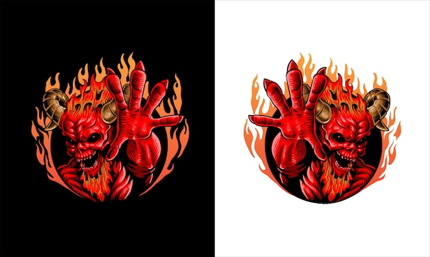 Rote feuerdämonillustration