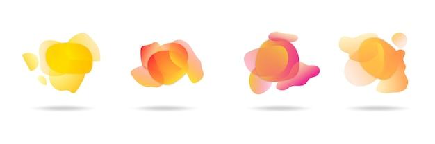 Rote flache form und grüner flüssigkeitsklecks, blauer flüssigkeitsfleck und violette geometrische form. satz isolierter abstrakter aquaflecken mit farbverlauf oder dynamischer farbe. hintergrund für karten- oder vorlagendesign für flyer