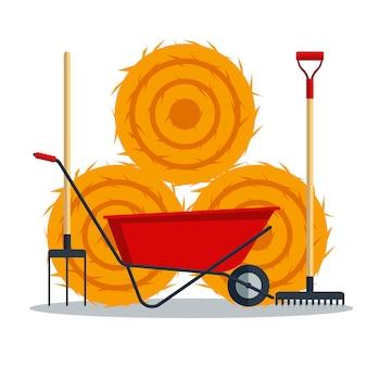 Rote flache gartenschubkarre mit heu, rechen und heugabel lokalisiert auf weißem hintergrund. werkzeugbeschränkung landwirtschaftsradikonenausrüstung - illustration