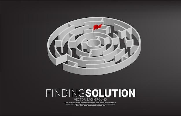 Rote flagge in der mitte des kreislabyrinths. geschäftskonzept für problemlösungs- und marketinglösungsstrategie