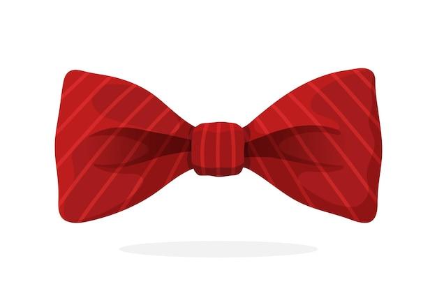 Rote fliege mit aufdruck in diagonalen streifen vektor-illustration vintage elegante fliege
