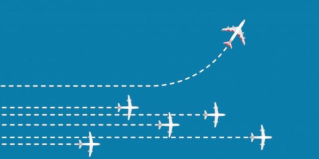 Rote flugzeugänderungsrichtungskonzept-geschäftslösung. flugzeug weg mut führungsstrategie