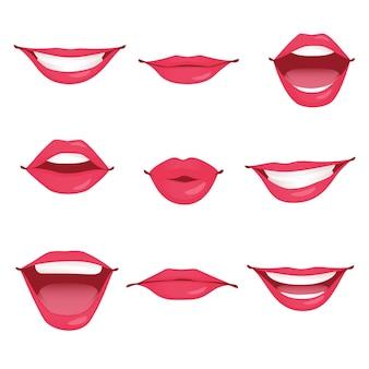 Rote frauenlippen mit unterschiedlicher ausdruckssatzvektorillustration lokalisiert