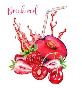 Rote fruchtzusammensetzung mit rotem saftspritzer