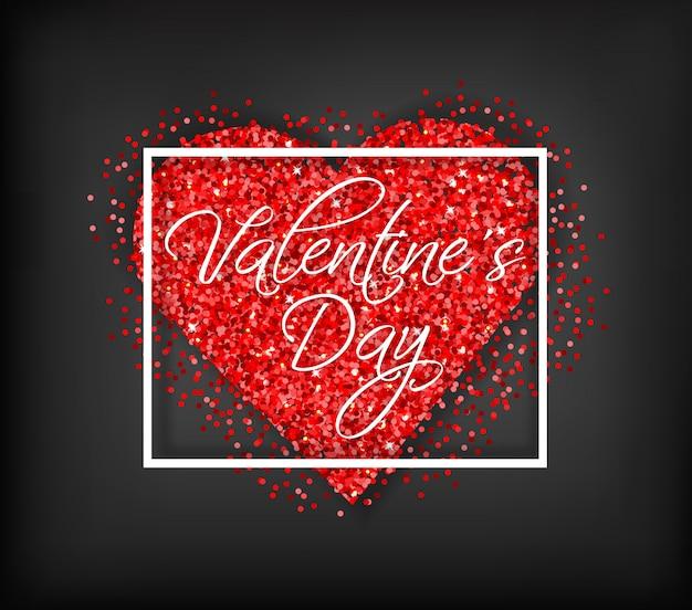 Rote funkelnherz valentinstagkarte