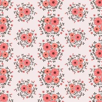 Rote gänseblümchenblumen winden efeuart mit niederlassung und blättern, nahtloses muster