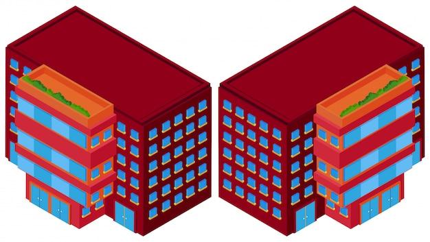 Rote gebäude aus zwei verschiedenen blickwinkeln