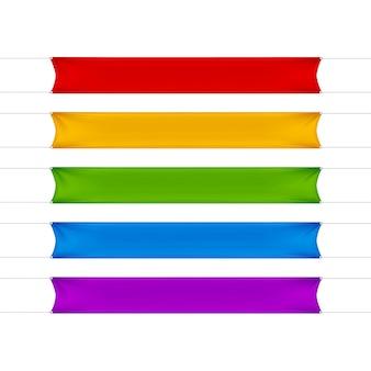 Rote, gelbe, grüne, blaue und lila leere leere horizontale rechteckige banner gesetzt
