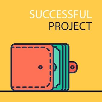 Rote geldbörse auf gelber, erfolgreicher projekt-fahne