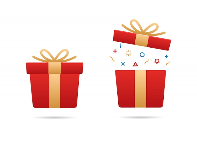 Rote geschenkbox eingestellt