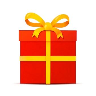 Rote geschenkbox mit dem gelben band, isolatede