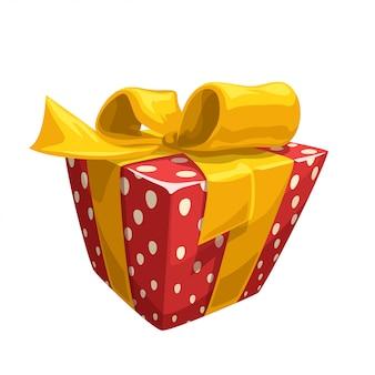 Rote geschenkbox mit gelbem band