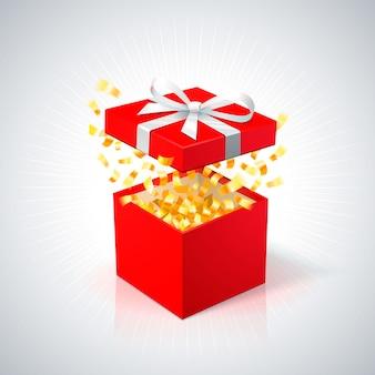 Rote geschenkbox mit goldenem konfetti auf weißem hintergrund. offene rote box mit weißer schleife.