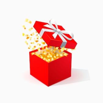 Rote geschenkbox mit goldenen konfetti. öffnen sie die rote box mit der weißen schleife.