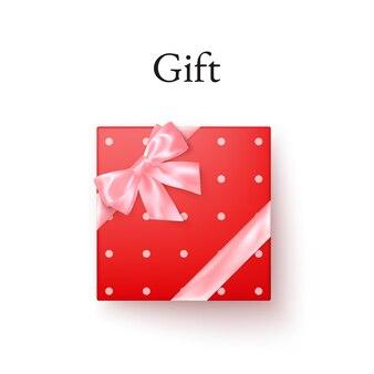 Rote geschenkbox mit rosa seidenschleife in der draufsicht des realistischen stils. geschenk zum valentinstag