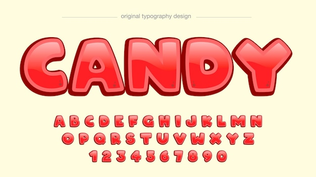 Rote glänzende cartoon-typografie