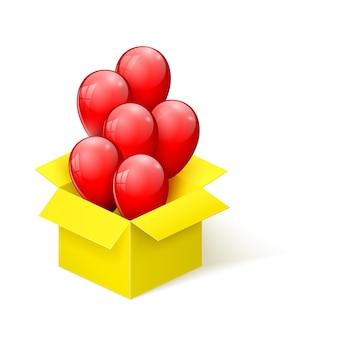 Rote glänzende luftballons, die aus einer sich öffnenden gelben box fliegen