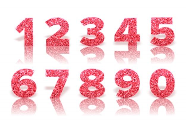 Rote glitzernummern mit reflexion und schatten
