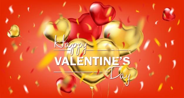 Rote goldfolien-herz-form-ballone und glücklicher valentinsgruß-tag