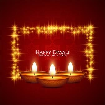 Rote grußkarte der glücklichen diwali-festfeier mit rahmen und kerzen