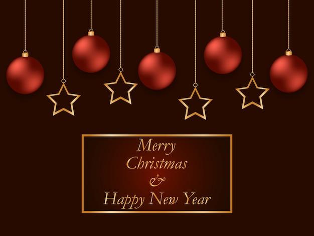 Rote grußkarte des neuen jahres mit goldenen sternen und roten bällen. weihnachtskugel hängen wunderschön an goldketten.