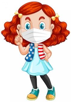 Rote haarmädchenkarikaturfigur, die maske trägt