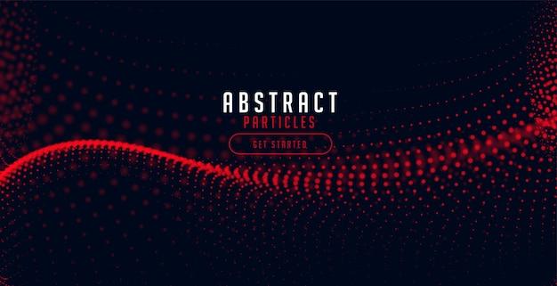 Rote halbton-partikelwelle auf schwarzem hintergrund