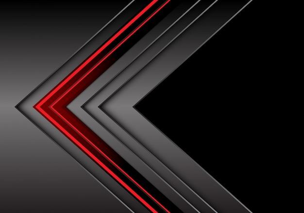 Rote hellgraue metallische pfeilrichtung mit schwarzem leerstellehintergrund.
