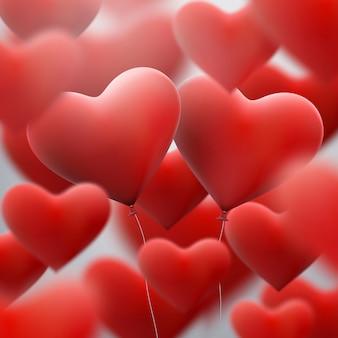 Rote herzballons fliegen haufen.