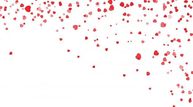 Rote herzblumenblätter, die für valentinstag, form des herzkonfettihintergrundes fallen. valentinstag, form des herzkonfettihintergrundes.