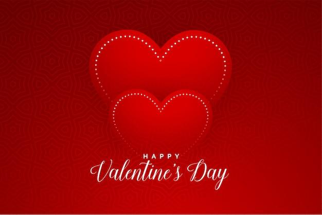 Rote herzen des valentinstags säubern grußkartendesign