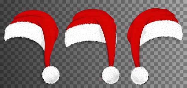 Rote hüte des weihnachtsmanns des weihnachtsmannes lokalisiert auf transparentem hintergrund. illustration