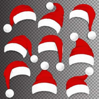 Rote hüte des weihnachtsmanns des weihnachtsmannes mit schatten auf transparentem hintergrund. illustration