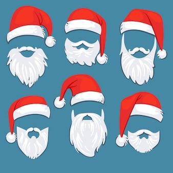 Rote hüte weihnachten santa clauss mit weißem schnurrbart- und bartvektorsatz. weihnachtsmann-maske mit bart für weihnachtsfeiertagsillustration