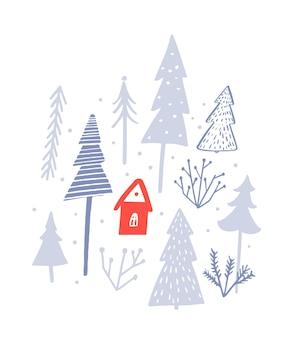 Rote hütte im winterwald vektor-illustration weihnachtskarte weißer schnee hintergrund mit bäumen