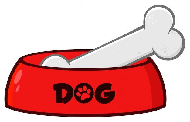 Rote hundeschüssel mit tierfutter und knochen, die einfaches design zeichnen