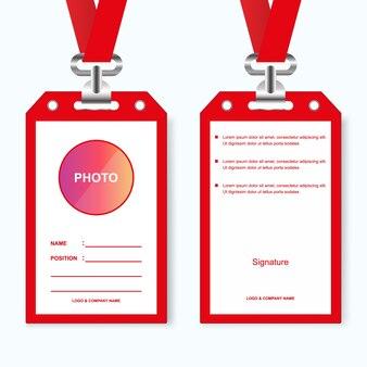 Rote id-karte-unternehmen Premium Vektoren