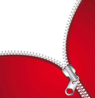 Rote jacke mit metallischem reißverschluss und platz für kopienvektorillustration