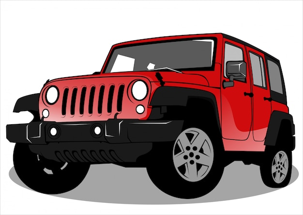 Rote jeep-autoillustration