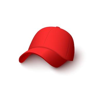 Rote kappe mit realistischer baumwollstruktur lokalisiert auf weißem hintergrund