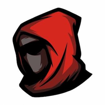 Rote kapuze mit e-sport-logo